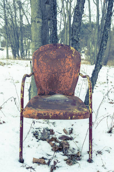 Old Rusty Chair In The Woods Poster