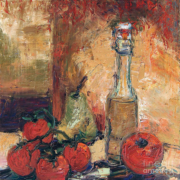 Olive Oil Tomato And Pear Still Life Poster