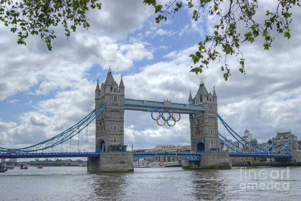 Olympic Rings On Tower Bridge Poster