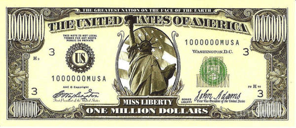 One Million Dollar Bill Poster