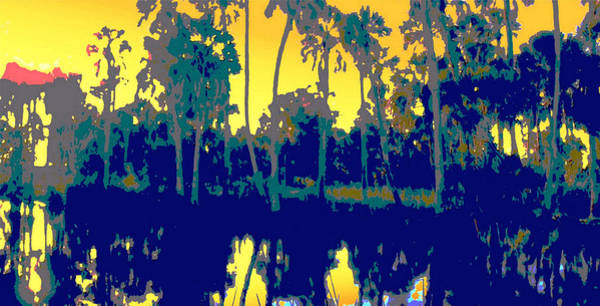 Poster featuring the painting Original Digital Fine Art Palms Reflections Sunset by G Linsenmayer