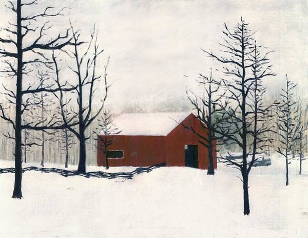Original Painting Red Barn Snow Maryland Poster