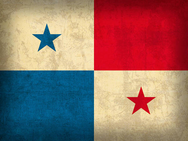 Panama Flag Vintage Distressed Finish Poster