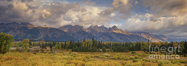 Panaroma Clearing Storm On A Fall Morning In Grand Tetons National Park Poster