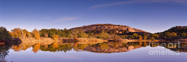 Panorama Of Enchanted Rock In The Fall From Moss Lake - Fredericksburg Texas Hill Country  Poster