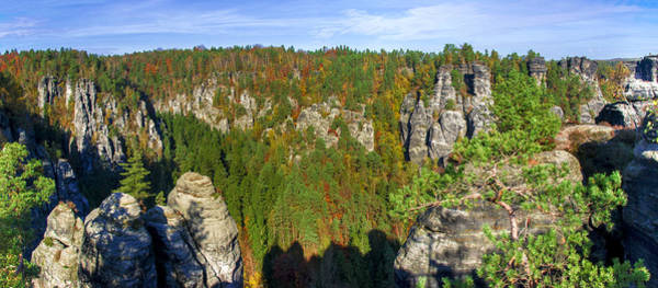 Panoramic View Of The Elbe Sandstone Mountains Poster