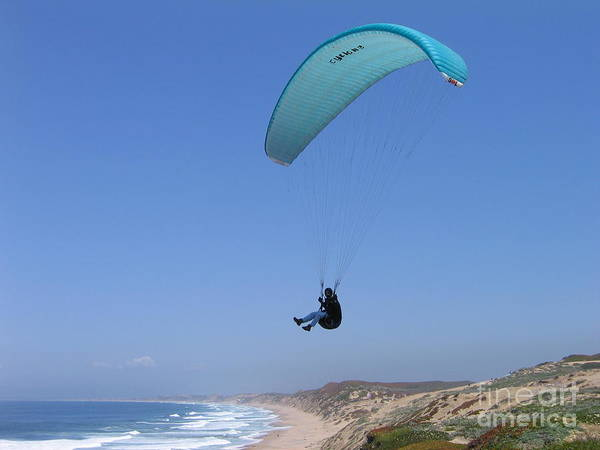 Paraglider Over Sand City Poster