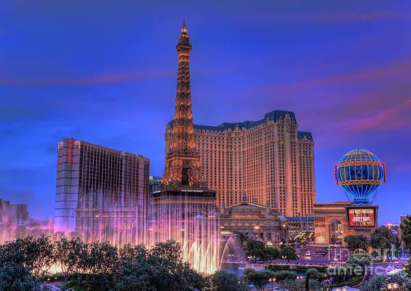 Paris Las Vegas At Sunset Poster