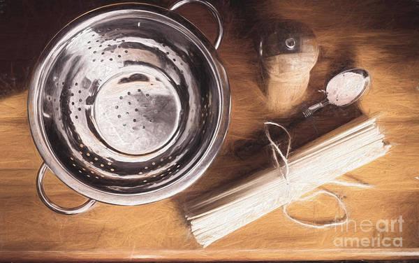 Pasta Preparation. Vintage Photo Sketch Poster