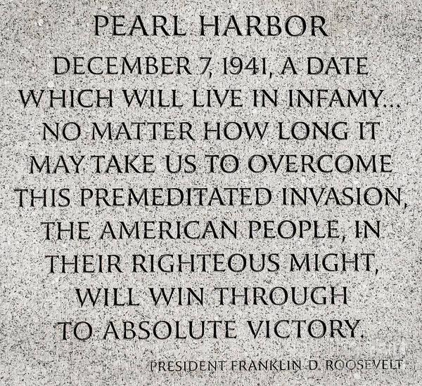 Pearl Harbor Speech - Franklin Delano Roosevelt Poster