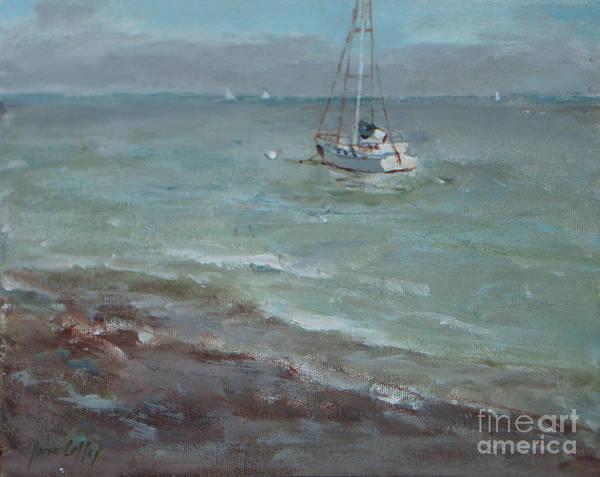 Pebbly Beach Sail Boat Poster