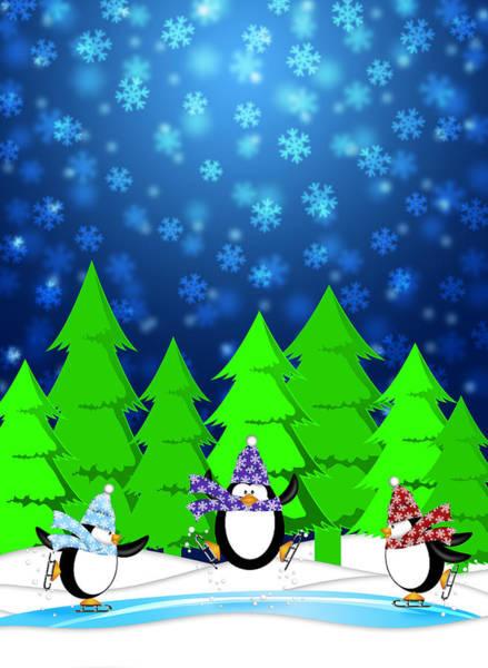 Penguins In Ice Skating Rink Winter Snowing Scene Blue Illustrat Poster