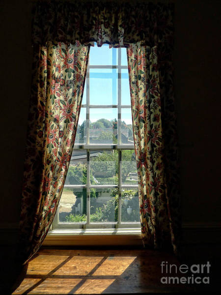 Period Window With Floral Curtains Poster