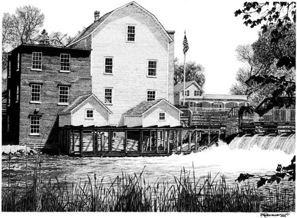 Poster featuring the drawing Phelps Mill by Rob Christensen