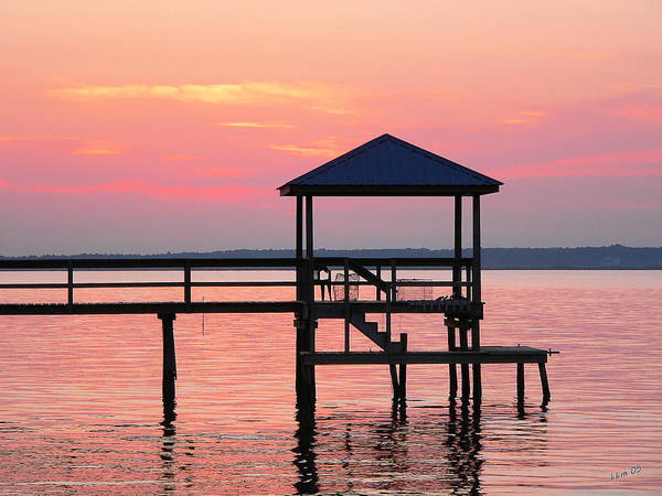 Pier In Pink Sunset Poster
