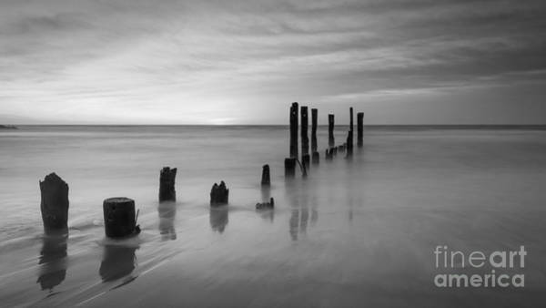 Pier Into The Past Bw 16x9 Poster
