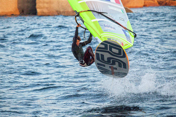 Pierre Le Coq Jumping With His Windsurf Poster