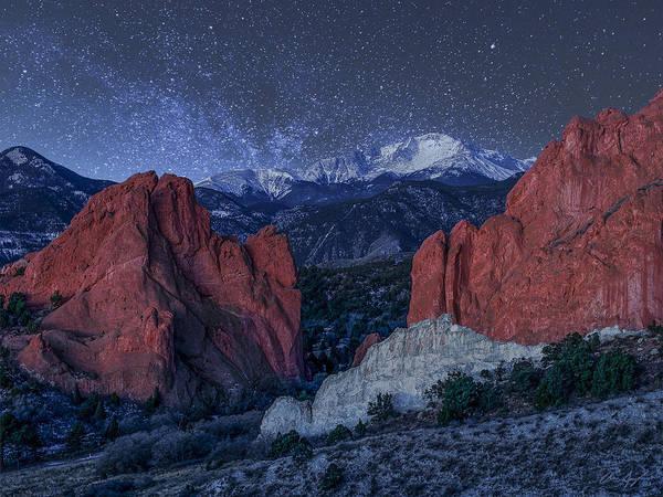 Pikes Peak At Night Poster