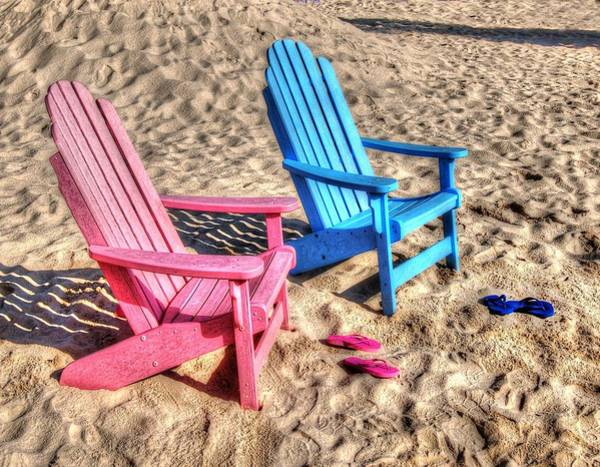 Pink And Blue Beach Chairs With Matching Flip Flops Poster