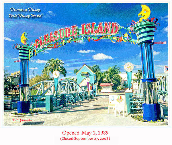 Pleasure Island Sign And Walkway Downtown Disney Poster