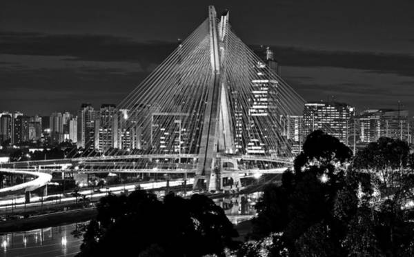 Sao Paulo - Ponte Octavio Frias De Oliveira By Night In Black And White Poster