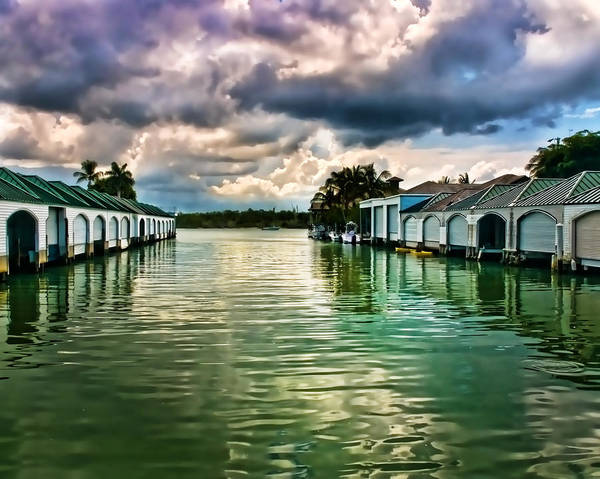 Storm Clouds Over  Port Royal Boathouses In Naples Poster