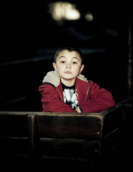 Portrait Of A Young Boy With Dark Poster