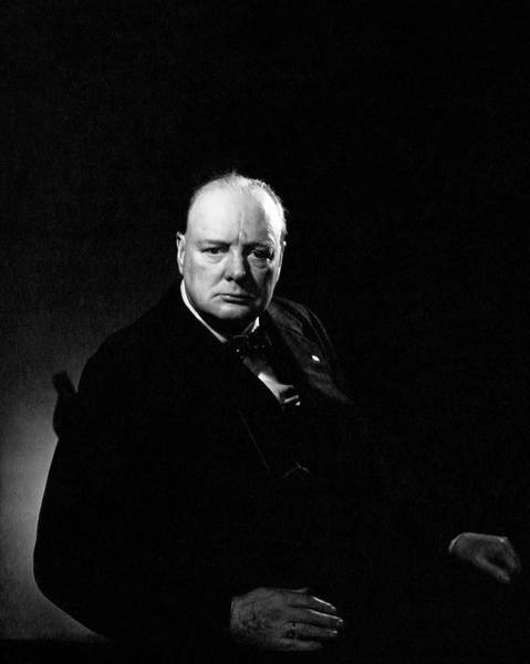 Portrait Of Winston Churchill Poster