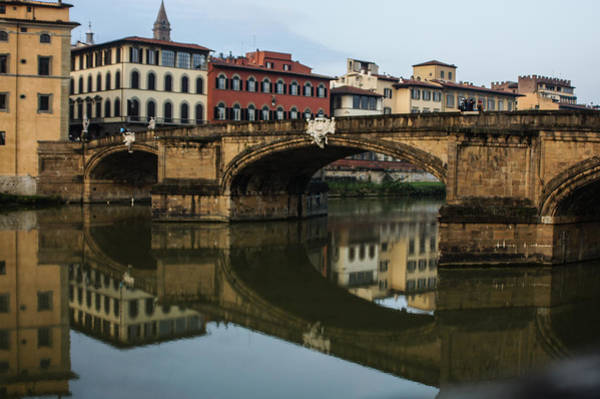 Postcard From Florence - Arno River And Ponte Santa Trinita  Poster