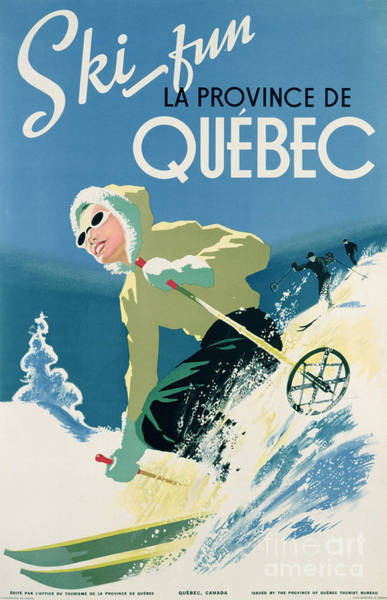 Poster Advertising Skiing Holidays In The Province Of Quebec Poster