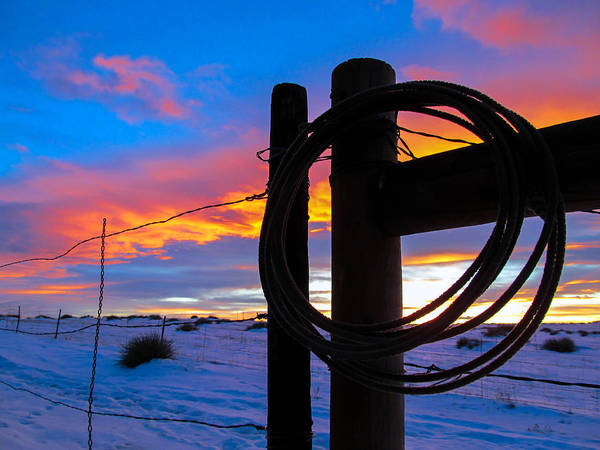 Prairie Fence Sunset Poster