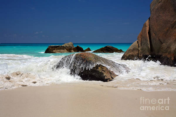Poster featuring the photograph Praslin Island Waves by Kate McKenna