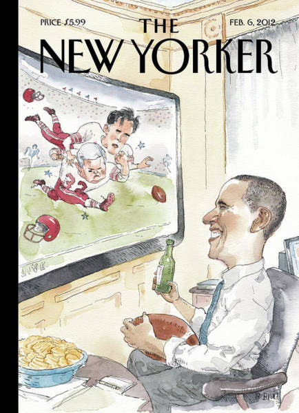 President Obama Watches Football On Tv Poster