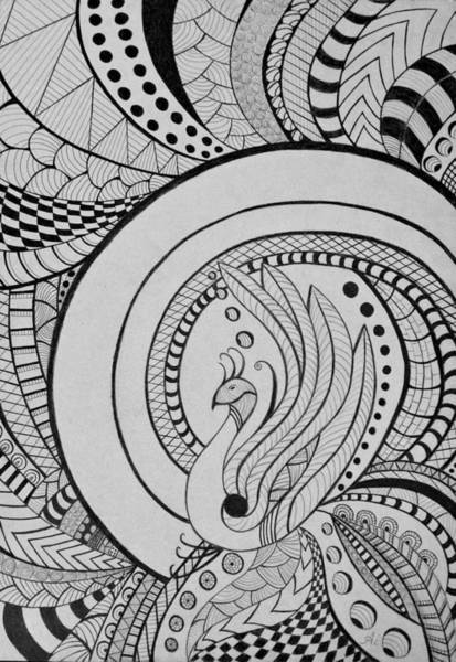 Zentangle Peacock Art Drawing Poster