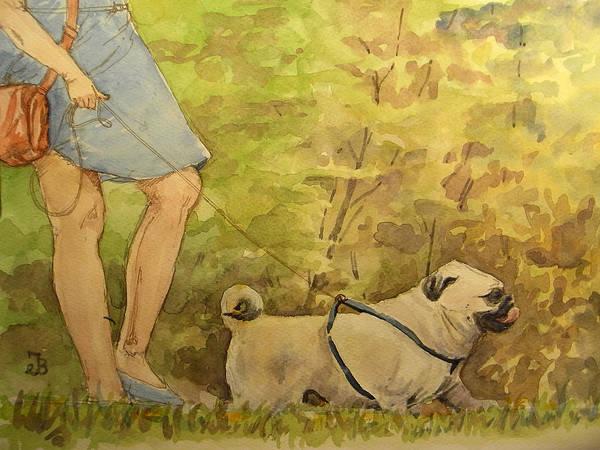 Pug Walkign Poster