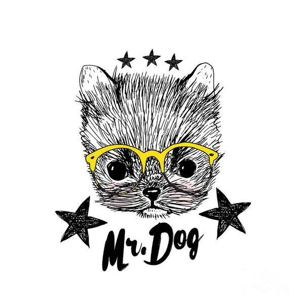 Puppy And Yellow Glasses Illustration Poster