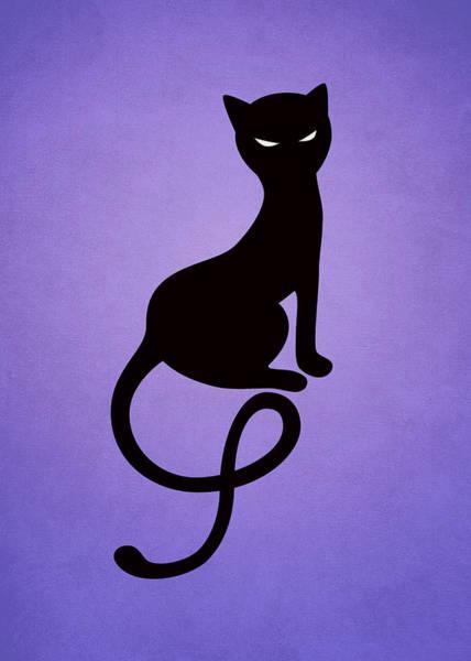 Purple Gracious Evil Black Cat Poster