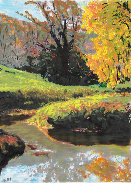Poster featuring the painting Quiet Stream Maryland Landscape Fall Colors Sketch by G Linsenmayer