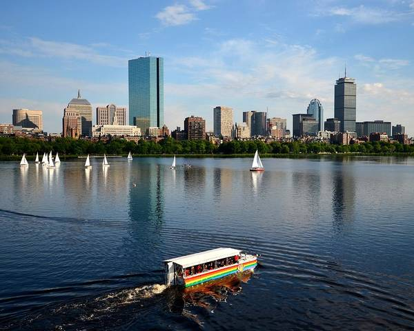 Rainbow Duck Boat On The Charles Poster