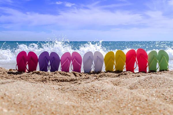 Rainbow Of Flip Flops On The Beach Poster