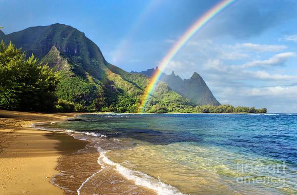 Rainbow Over Haena Beach Poster