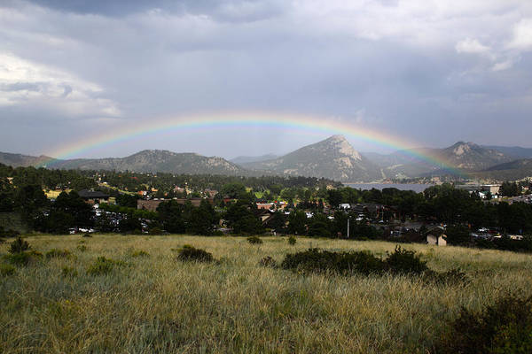 Poster featuring the photograph Rainbow Over Lake Estes by Shane Bechler