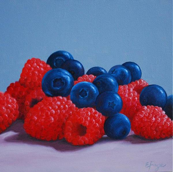 Raspberries And Blueberries Poster