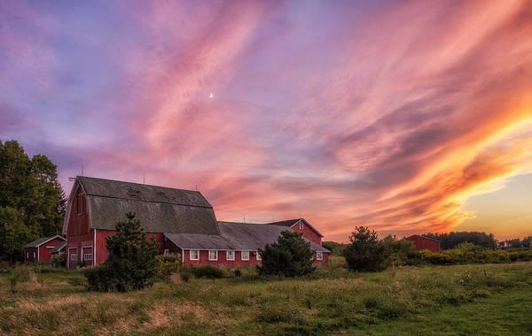Red Barn Sunset Poster