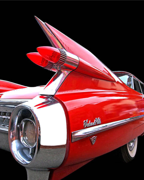 Red Cadillac Sedan De Ville 1959 Tail Fins Poster
