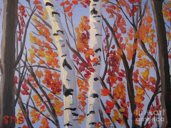 Red Fall Leaves Poster