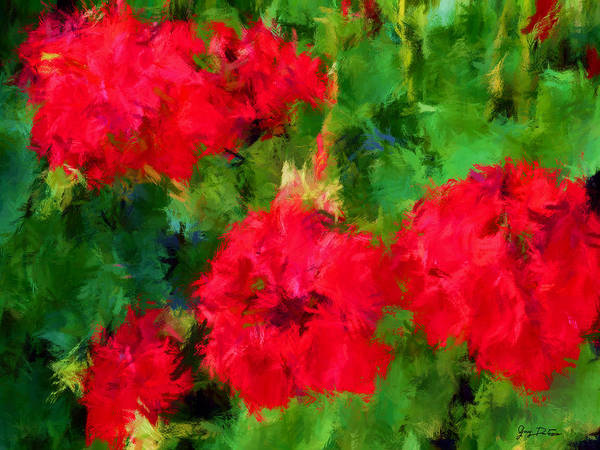 Red Flowers Impressionism Poster