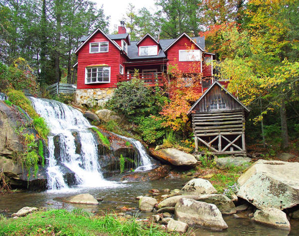 Red House By The Waterfall Poster