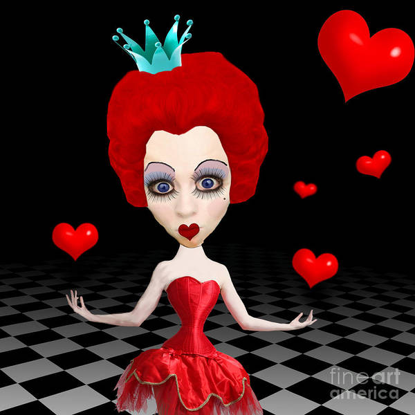 Red Queen Of Hearts Poster