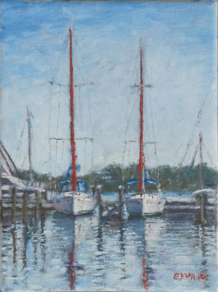 Red Sails Under Gray Sky Poster